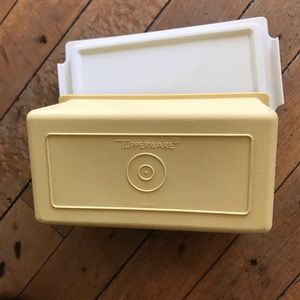 Vintage  Tupperware gold colored butter saver
